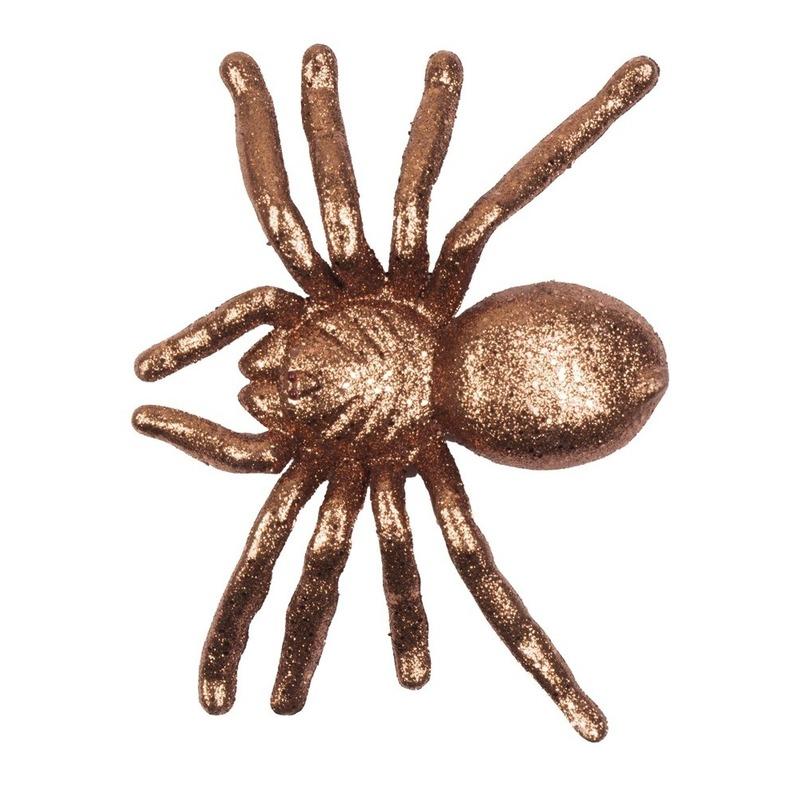 Gouden grote halloween decoratie spin met glitters