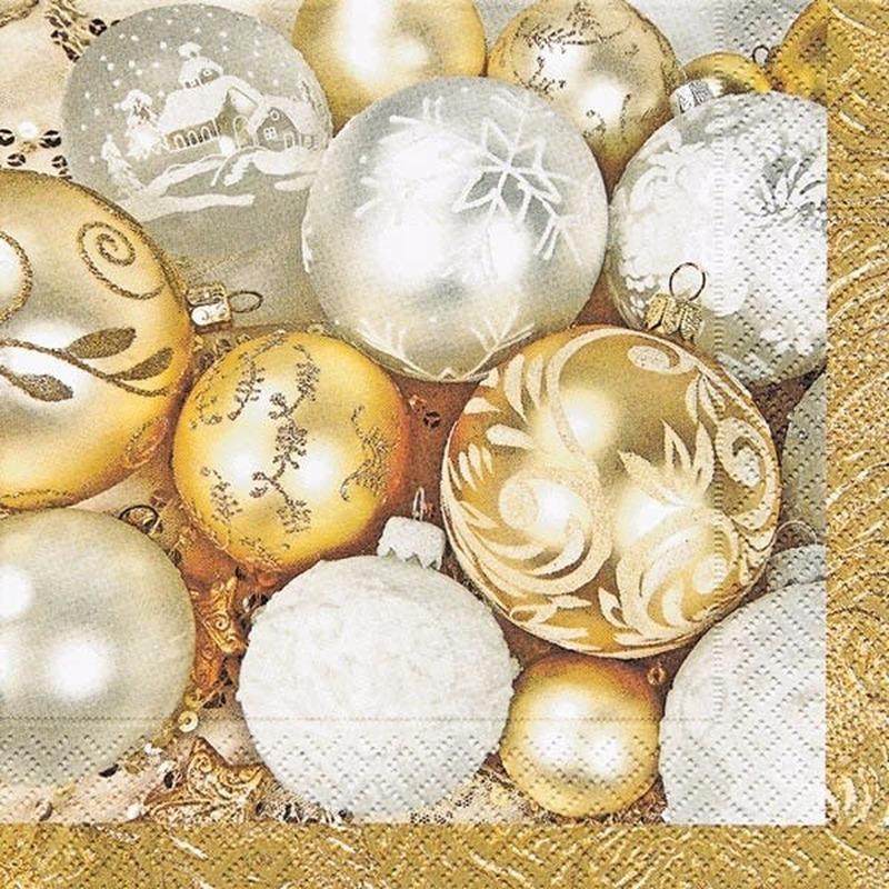 Gouden kerst servetten met kerstballen