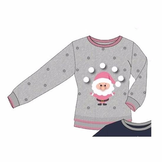 Grijs met roze dames kersttrui met Kerstman Geen Kerst kostuums