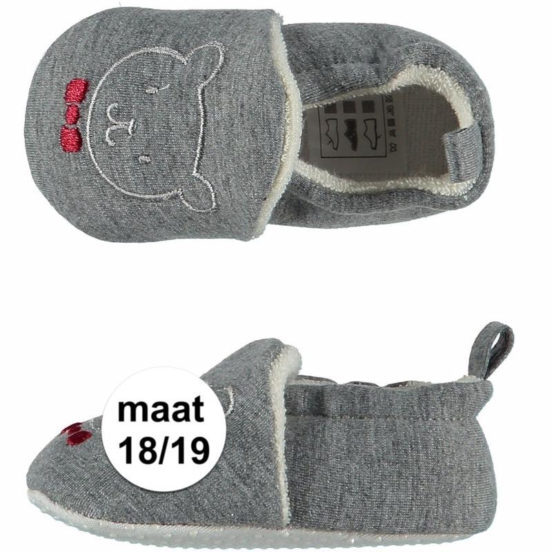 Sloffen en Pantoffels Apollo Grijze babyslofjes met beertje maat 18 19