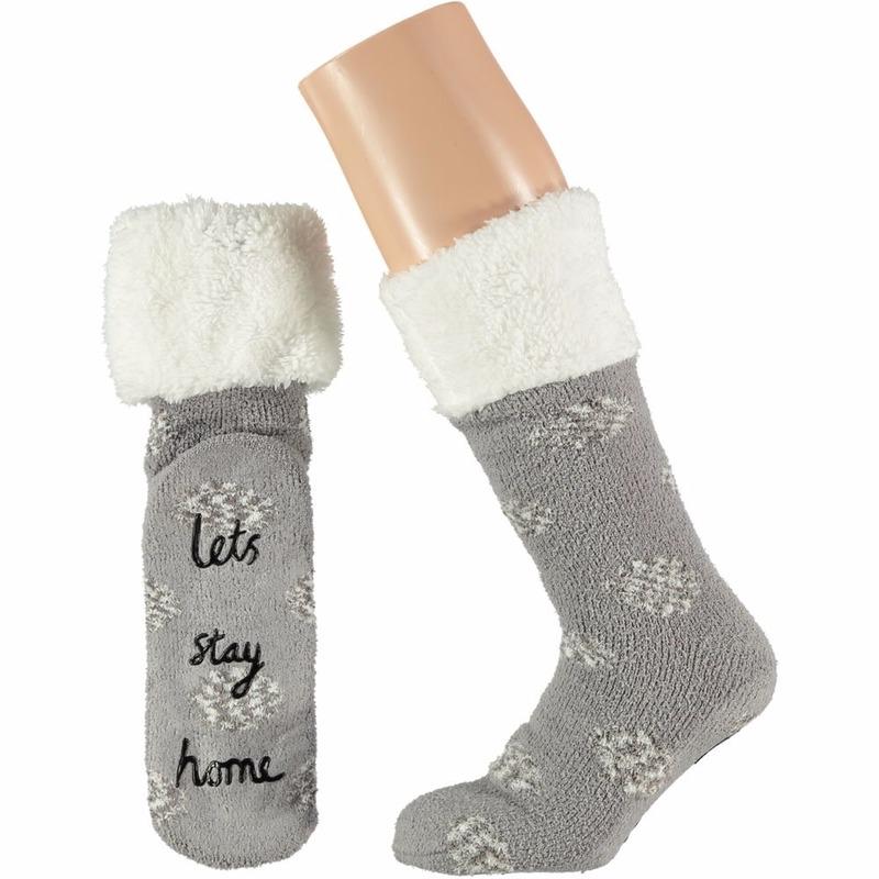 Apollo Grijze dames huissokken Lets Stay Home Sokken en Panty's