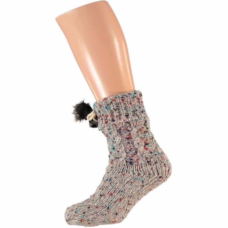 Sokken en Panty's Apollo Grijze dames huissokken met gekleurde vlekjes