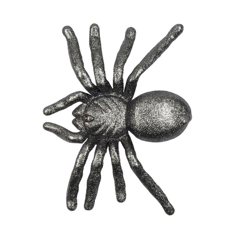 Grijze grote halloween decoratie spin met glitters