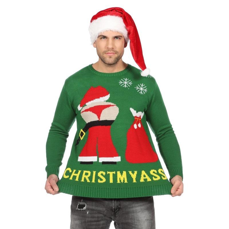 Groene kerst trui met mooning Kerstman voor heren