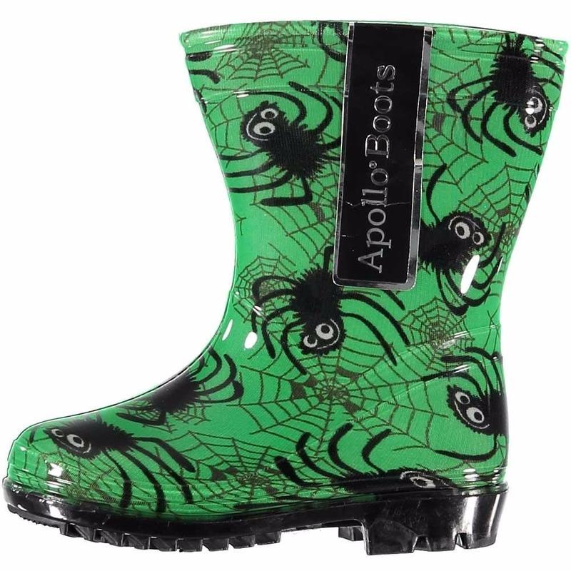 Schoenen en laarzen Apollo Groene kinder regenlaarzen met spinnen