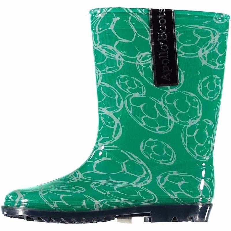 Schoenen en laarzen Bellatio Groene kinder regenlaarzen met voetballen