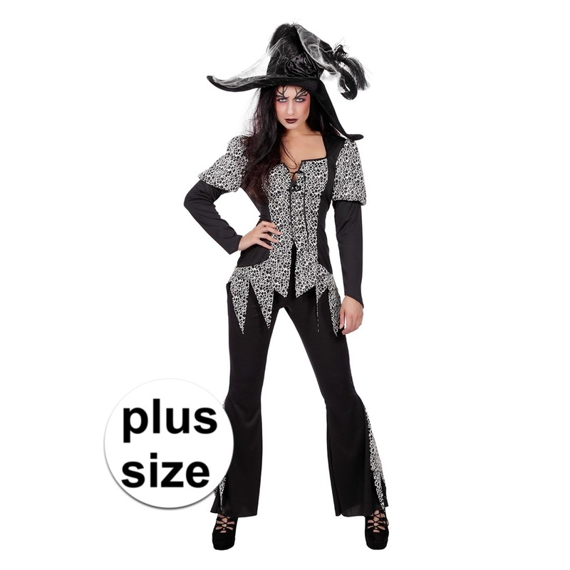 Grote maat zwart/wit heksen kostuum voor dames