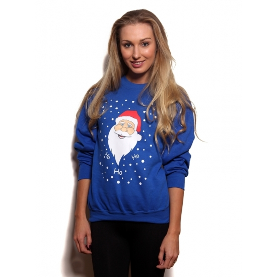 Kerst kostuums Bellatio Grote maten blauwe kersttrui met kerstman