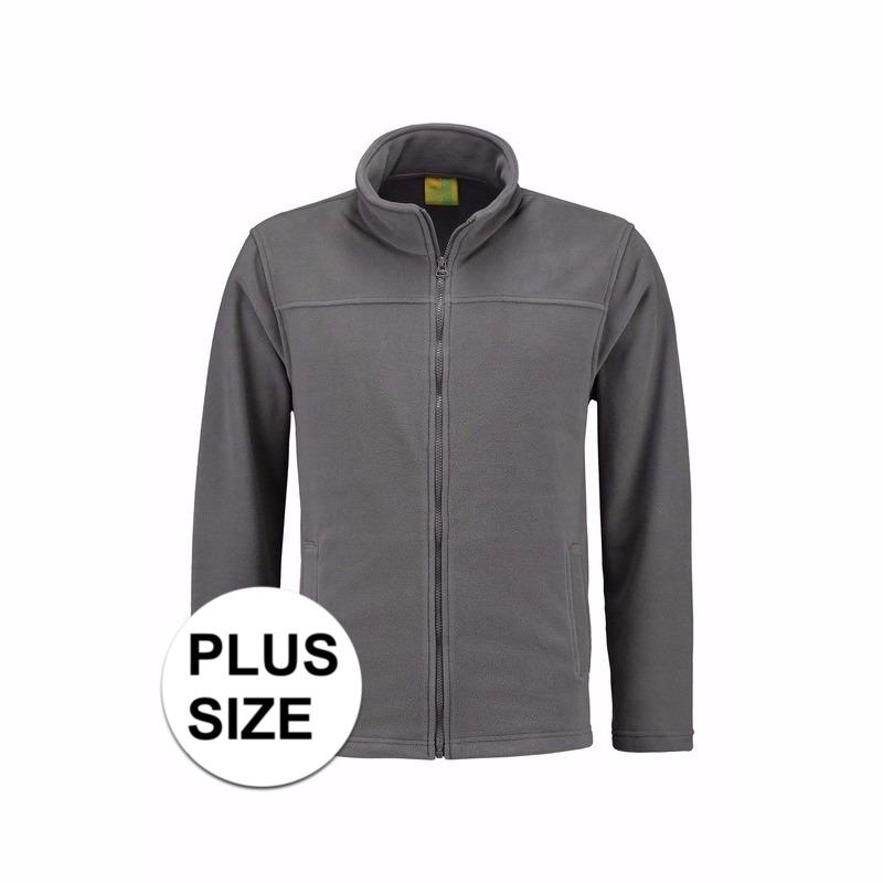 Grote maten grijs fleece vest met rits voor volwassenen L S Truien en sweaters