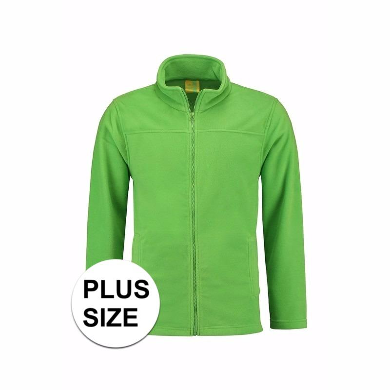 Truien en sweaters L S Grote maten lime fleece vest met rits voor volwassenen