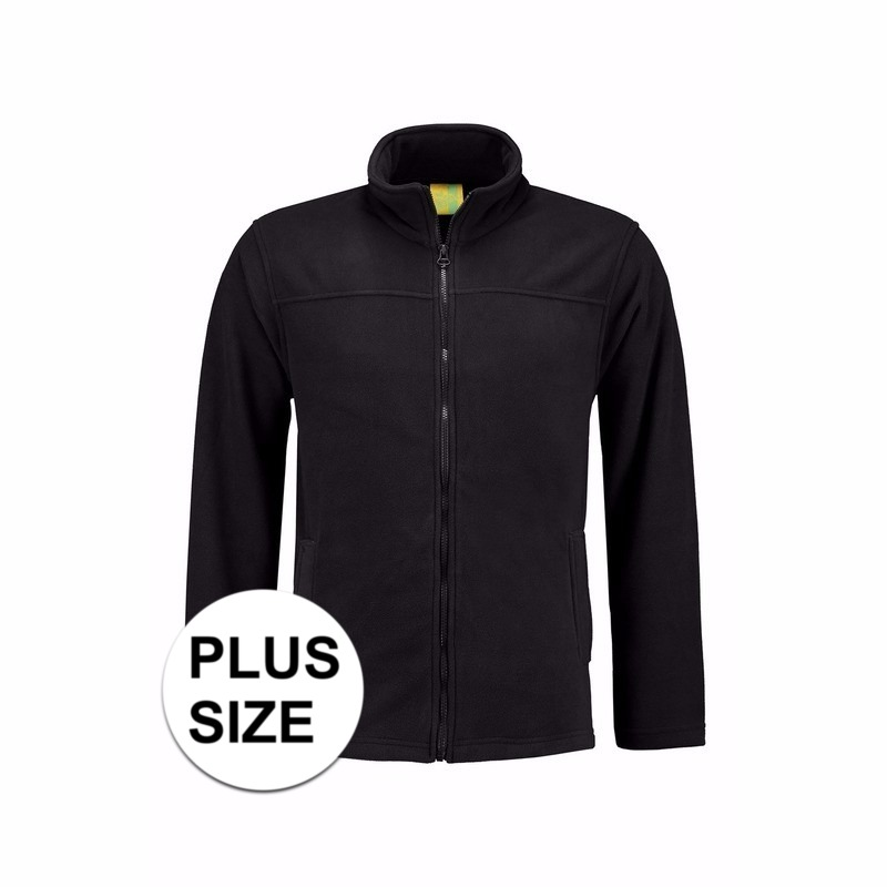 Truien en sweaters L S Grote maten zwart fleece vest met rits voor volwassenen