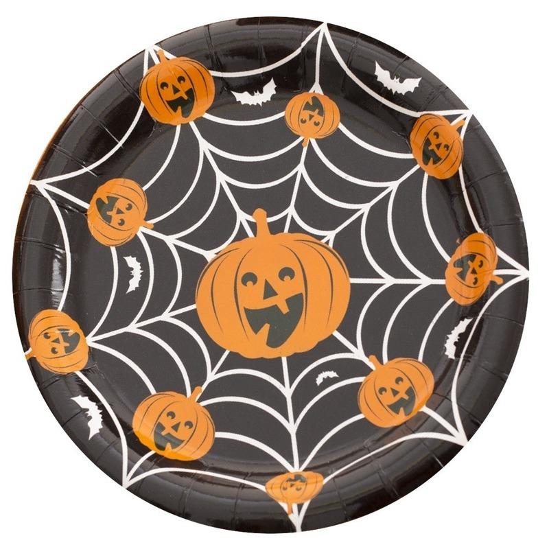 Halloween - 10x Halloween pompoen bordjes