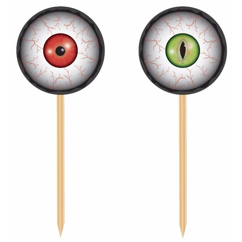 Halloween - 20x Horror halloween cocktailprikkers met oogbollen