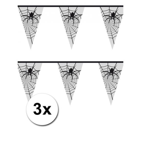Halloween - 3x Spinnenweb vlaggenlijn 6 meter