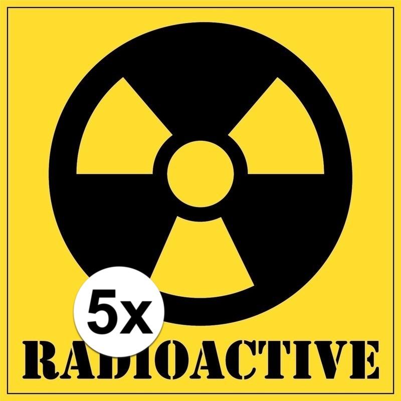 Halloween - 5x stuks halloween radioactive gevaren stickers