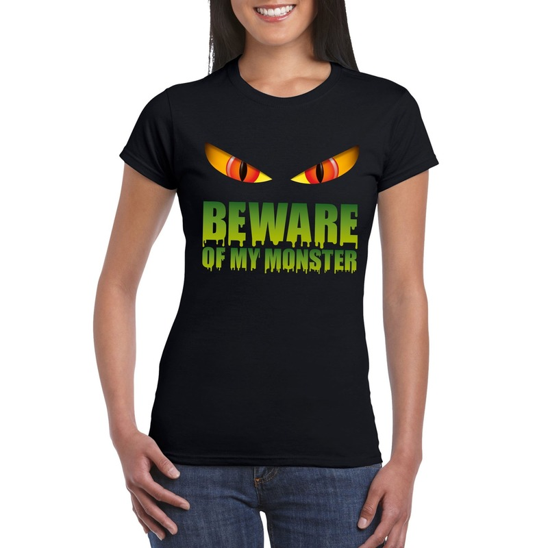 Halloween - Beware of my monster Halloween t-shirt zwart dames