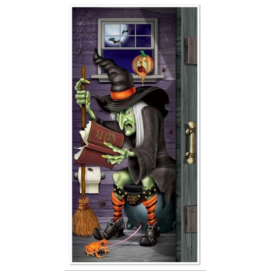 Halloween deurposter heks op toilet