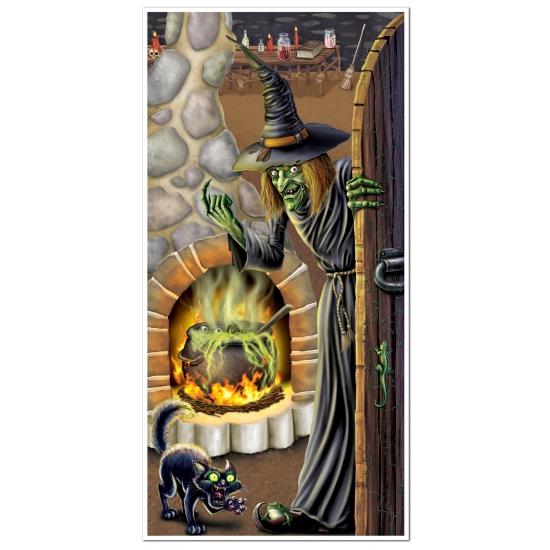 Halloween deurposter heksenketel