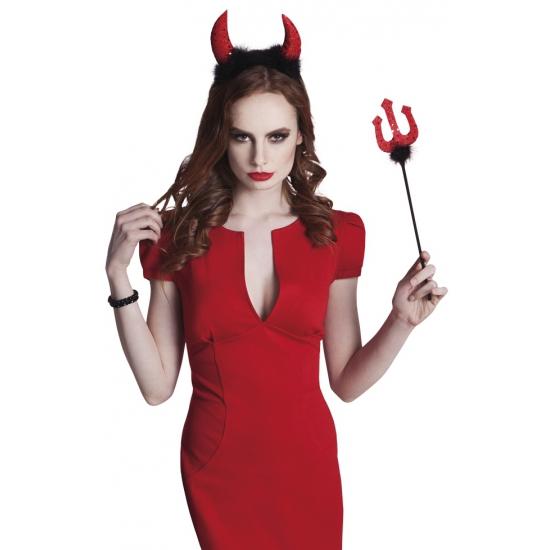 Halloween duivel setje met hoorntjes en vork 40 cm