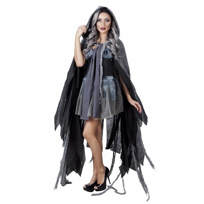 Halloween gerafelde cape grijs