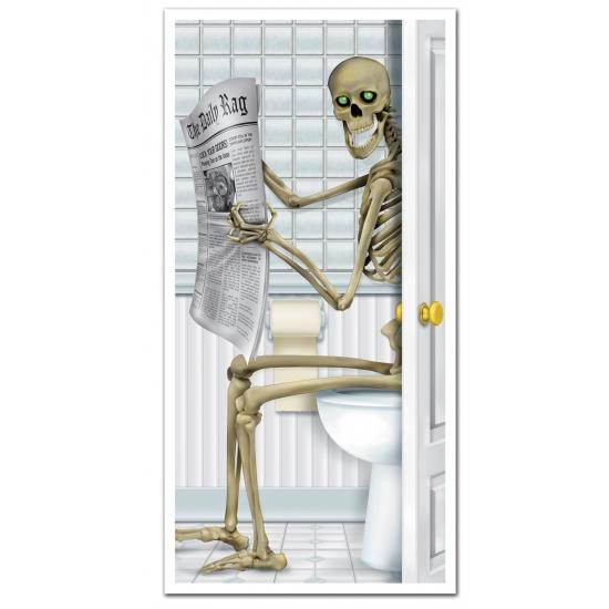 Halloween - Halloween deurposter skelet op toilet