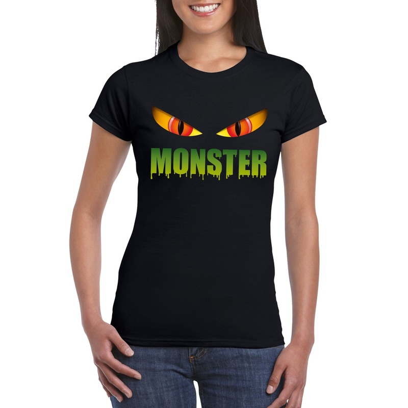 Halloween - Halloween monster ogen t-shirt zwart dames