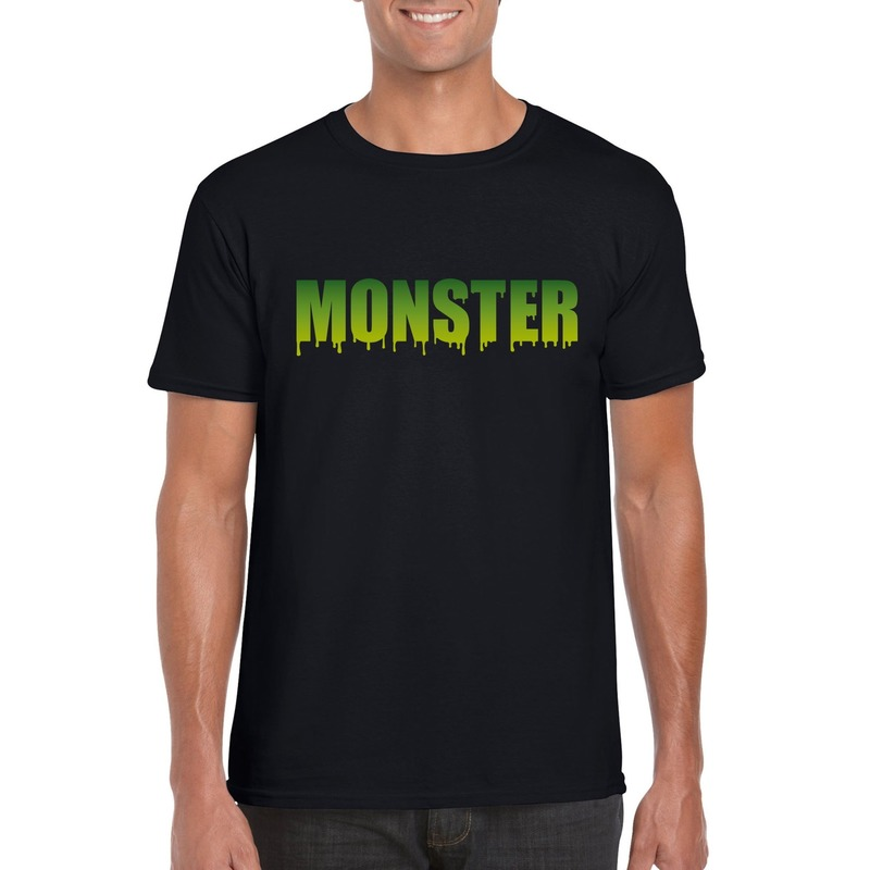 Halloween - Halloween monster tekst t-shirt zwart heren