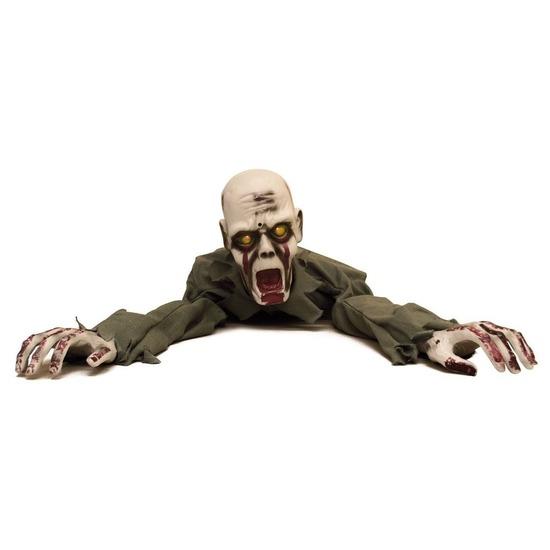 Halloween - Halloween versiering kruipende zombie met licht en geluid 100 cm