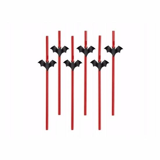Halloween - Halloween vleermuis rietjes 6 stuks