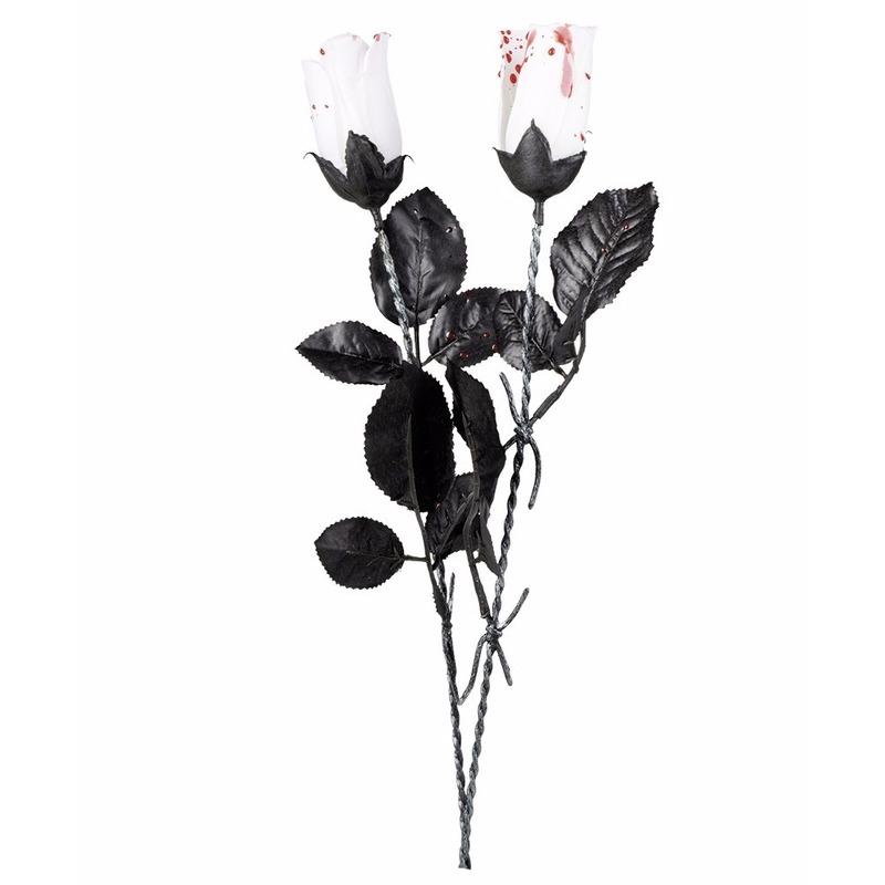 Halloween - Halloween witte roos met bloed 45 cm