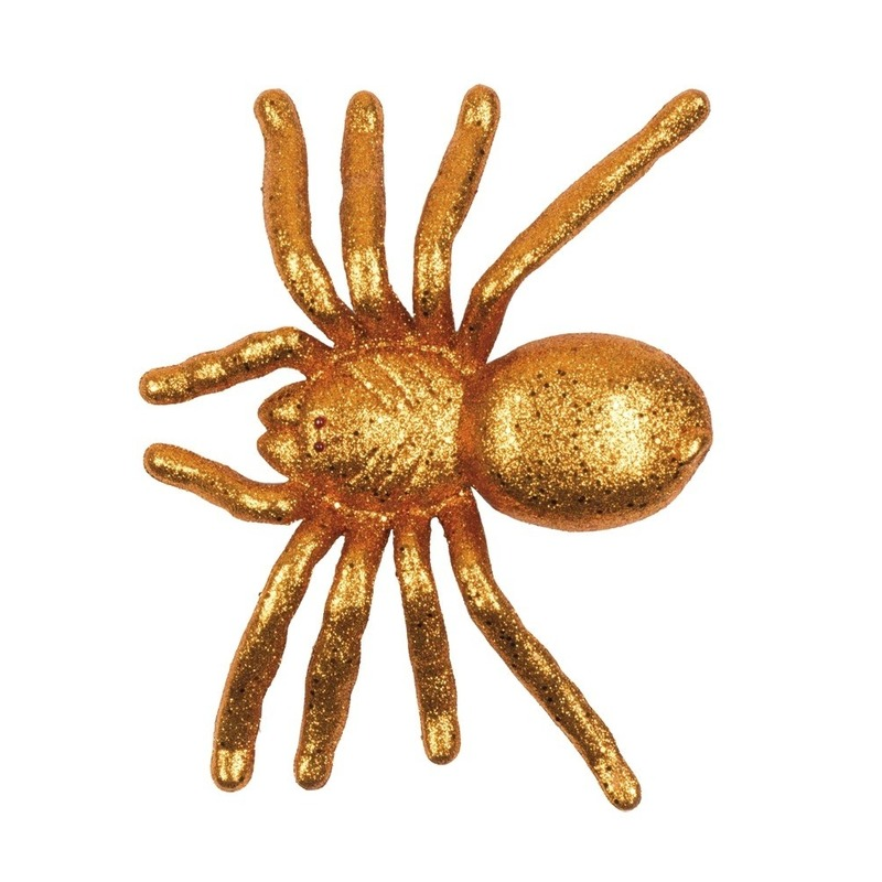 Halloween - Oranje grote halloween decoratie spin met glitters