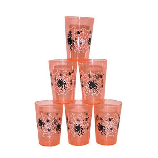 Halloween - Oranje Halloween drinkbekers 6 st