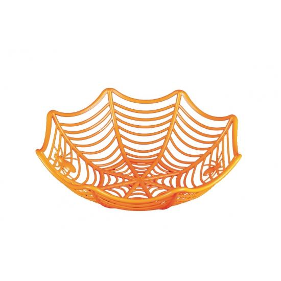 Halloween - Oranje schaal met spinnen