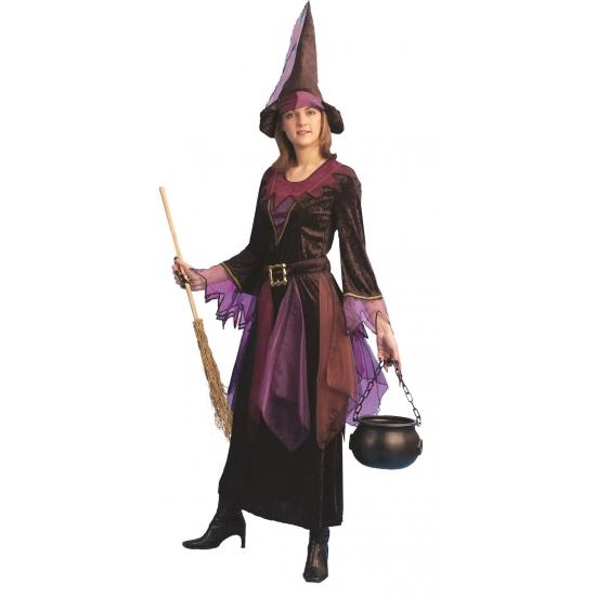 Halloween - Paarse heksen jurk inclusief hoed