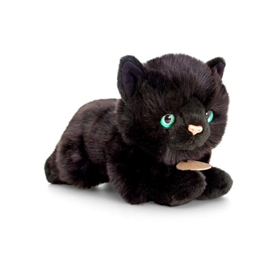Halloween pluche katten/poezen knuffel zwart 30 cm