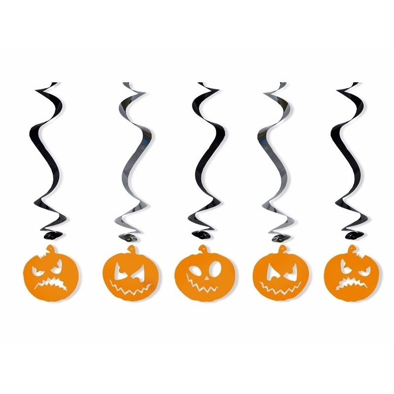 Halloween - Pompoenen hangdecoraties 5 stuks