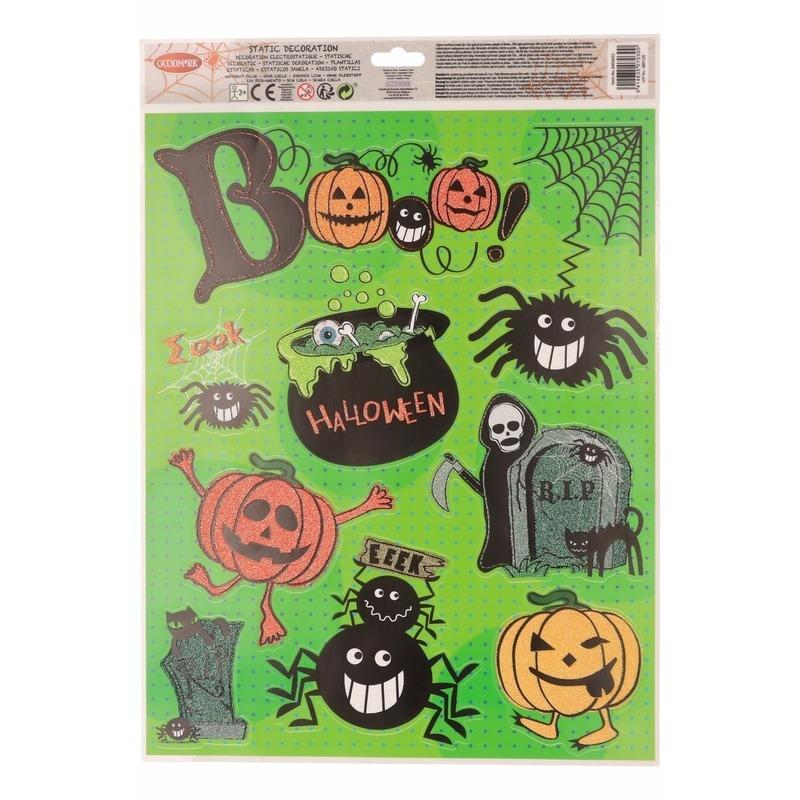 Halloween raamdecoratie stickervel groen