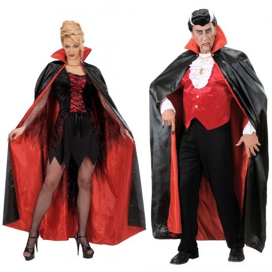 Halloween - Satijnen cape zwart/rood