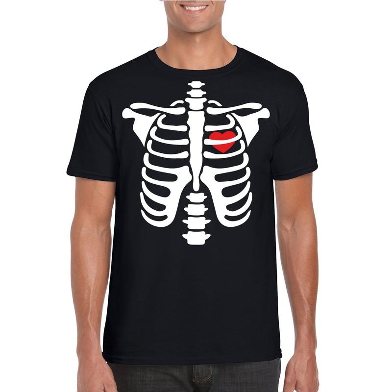 Halloween skelet t-shirt zwart heren