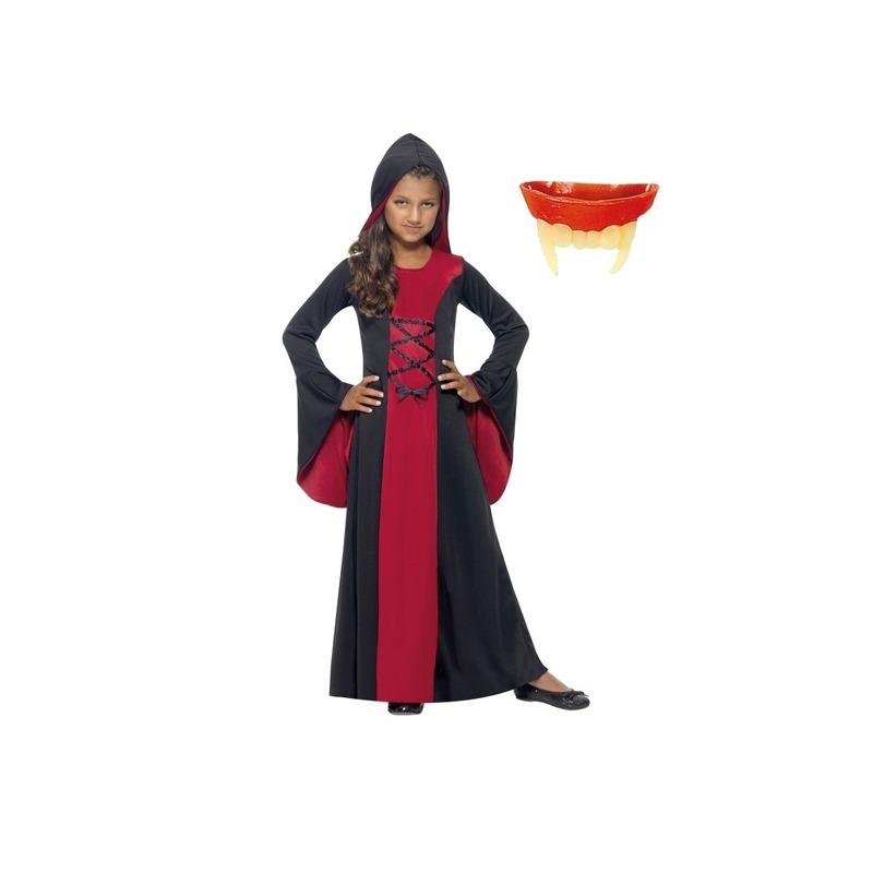 Halloween - Vampier jurk inclusief gebit voor meisjes