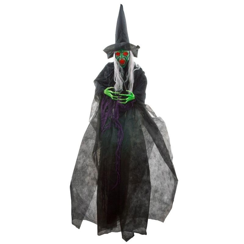 Halloween versiering heks pop met licht en geluid 180 cm