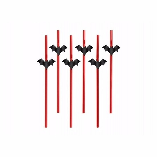 Halloween vleermuis rietjes 6 stuks