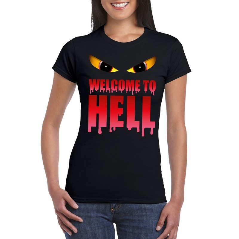 Halloween - Welcome to hell Halloween Duivel t-shirt zwart dames