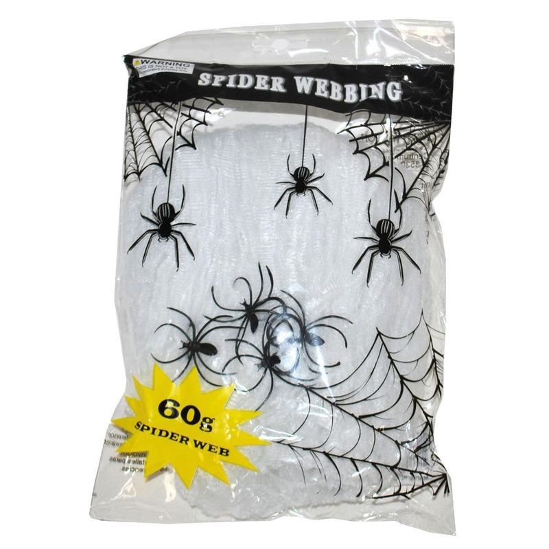 Halloween - Wit spinnenweb met spinnen 60 gr