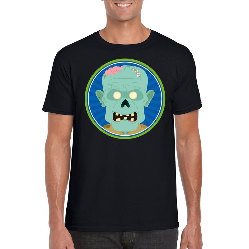 Halloween zombie t-shirt zwart heren