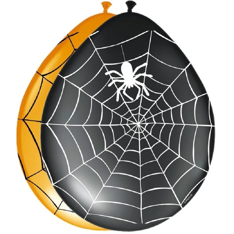 Halloween - Zwarte ballonnen met spinnenweb 8 stuks halloween versiering