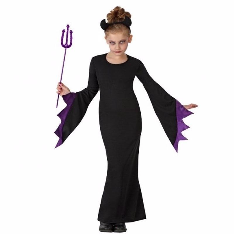 Halloween zwarte duivel kostuum voor meisjes