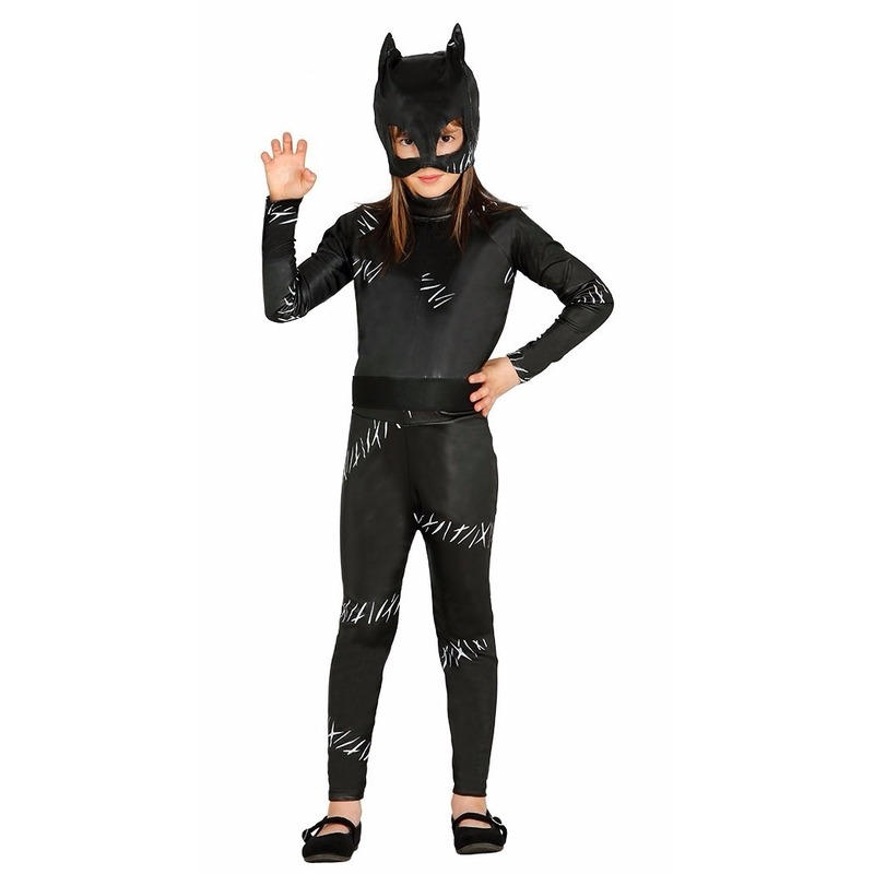 Halloween - Zwarte kat/poes Halloween catsuit voor meiden