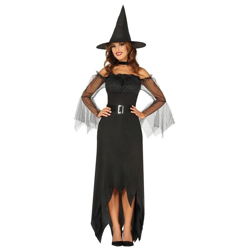 Halloween - Zwarte lange heksen kostuum voor dames