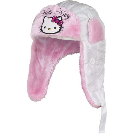Hello Kitty muts met oorflappen wit meisjes Hello Kitty Mutsen